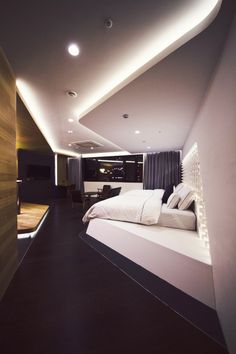 Modern architecture house design with minimalist style and luxury exterior and interior and using the perfect lighting style is inspiration for villas mansions penthouses Modern Bedroom Design, Bed Design, Home Interior Design, Interior Architecture, House Design, Futuristic Interior, Home Modern, False Ceiling Design, Design Furniture