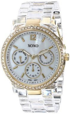 awesome Women's XO5527 Clear Bracelet with Rhinestones on Gold Case Watch - For Sale