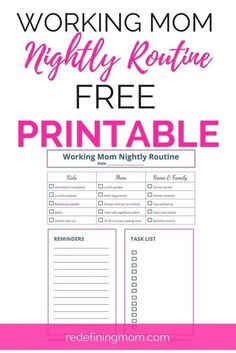 This FREE nightly routine printable for working moms is the best time manag. This FREE nightly routine printable for working moms is the best time management trick I've - Nocturne, Planners, Routine Printable, Working Mom Tips, Working Mom Schedule, Working Mother, Good Time Management, Project Management, Night Routine