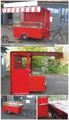 Harry-S Imbisssysteme Mijn Grillfiets Matador mit Grill (Copy) A Frame House Kits, Bakery Display Case, Food Cart Design, Mobile Food Cart, Mini Cafe, Velo Cargo, Bike Food, Container Restaurant, Mobile Cafe