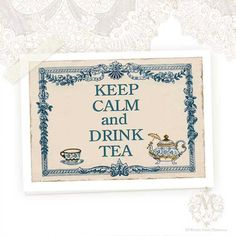 Keep Calm and Drink Tea Greeting Card Teapot by mulberrymus