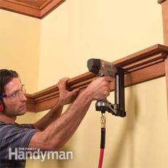 Photo 14: Install the craftsman style plate rail Painted Wainscoting, Dining Room Wainscoting, Wainscoting Styles, Wainscoting Nursery, Craftsman Window Trim, Craftsman Interior, Craftsman Style, Craftsman Cottage, Craftsman Furniture