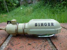 Vintage Singer 319W Sewing Machine Light Part Attachment Mint Green Works! #Singer