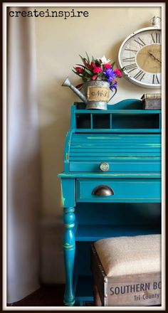 {createinspire}: Roll Top in Renfrew Blue (Fusion Mineral Paint) Blue Painted Furniture, Painting Furniture, Furniture Projects, Paint Colours, Colors, Chalky Paint, Mineral Paint, Repurposed, Sick