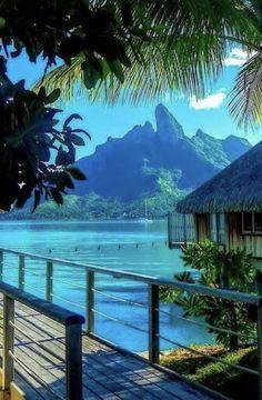 Bora Bora Island, American History X, Decoration Bedroom, Blue Lagoon, Tropical Paradise, Beach Cottages, Photomontage, Summer Colors, Color Themes