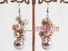 Trendy Style Beautiful Cluster Shape Pink Pearl Round Shell Bead Drop Earrings