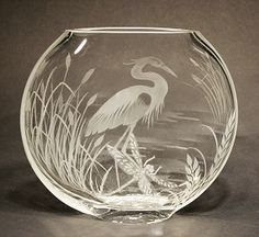 Etched Glass: Great Bllue Heron Cattails and Dragonflies on Clear Medium Vase