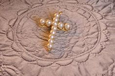 VintageDaintyPearl Cross by frenchhen1 on Etsy, $15.00