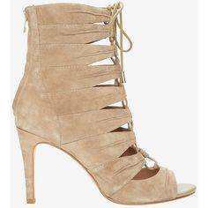 Joie Anja Lace-Up Suede Open Toe Bootie (440 CAD) ❤ liked on Polyvore featuring shoes, boots, ankle booties, beige ankle boots, beige suede booties, suede booties, suede boots and high heel booties