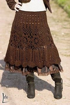 Brown Skirt free crochet pattern - symbols only