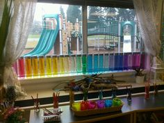 Absolutely beautiful rainbow spectrum in the kindergarten classroom (Voss Water Bottle)