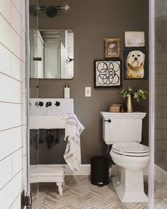 Brown is an unlikely choice for a bathroom, but this space makes a convincing argument for why you should give it a try. The brown paint color featured is Dirty Chai by Clare.