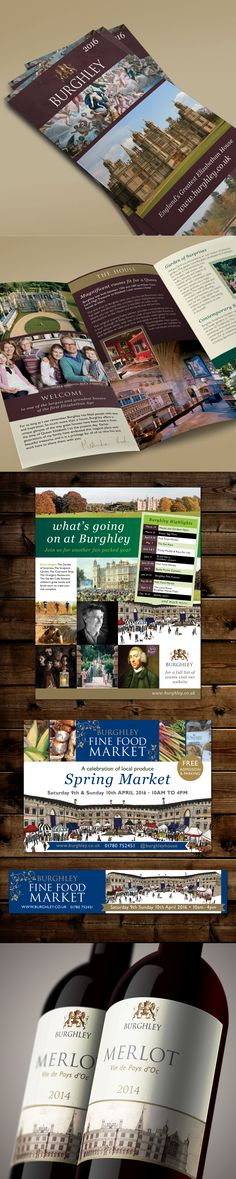 Burghley House, house promotional brochure, events advertising and Fine Food Market promotional items.