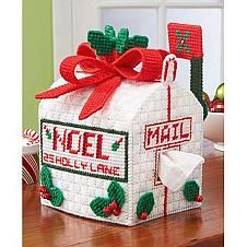 Holiday mailbox adds a seasonal touch to your bedroom or powder room with this charming tissue box cover. Plastic canvas kit includes plastic canvas, acrylic yarn, cotton floss, needle, and instructions. Plastic Canvas Books, Plastic Canvas Tissue Boxes, Plastic Canvas Christmas, Plastic Canvas Crafts, Plastic Canvas Patterns, Plastic Craft, Tissue Box Holder, Tissue Box Covers, Christmas Boxes Decoration