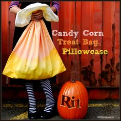 Tutorial: Candy cane pillowcase trick or treat bag  Go old school with your trick or treat bag this year and use a pillowcase to collect candy.  But don't leave it plain.  You can make it festive for Halloween by dying it to look like candy corn