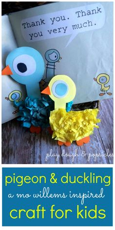 Pigeon & Duckling crafts for kids. Preschool activity inspired by Mo Willems. Tissue paper, paper plate craft for kids.
