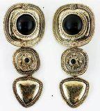 #goldearrings - Black Pearl Emblem Earring - Gold Clamp-On Earrings - http://pinfollow.me/categories/jewelry/gold-earrings/black-pearl-emblem-earring-gold-clamp-on-earrings/