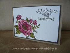 Geburtstagskarte mit dem Set Geburtstagsblumen, Stampin up, www. meinekreativwerkstatt.bastelblogs.de, Embossing
