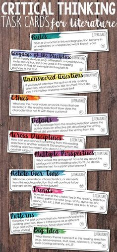 Critical Thinking Task Cards for Literature. These task cards are perfect for…