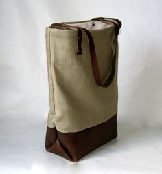 Leather Tote Brown bag with Neutral Sage by appletotesandcompany, $75.00