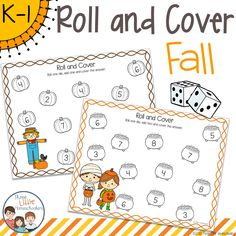 Practice counting, adding, and subtracting with these fun, fall themed, roll and cover games! Themes included are apples, pumpkins, raking leaves, Halloween and Thanksgiving. Each theme comes with five versions of the roll and cover game: roll and count the dots, add one, add two, subtract one, and roll two dice and add, for a total of 25 roll and cover games. Addition And Subtraction Worksheets, Number Worksheets, Free Worksheets, Kindergarten Classroom, Kindergarten Addition, Classroom Tools, Classroom Ideas, Kindergarten Math Worksheets, Math Numbers