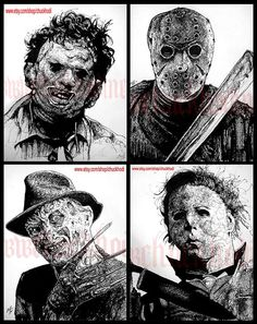 "Print 8x10"" - Leatherface Jason Voorhees Freddy Krueger Michael Myers Horror Movie Characters Vintage Slasher Gothic Scary Spooky Serial Pop. $22.00, via Etsy."