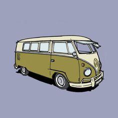 Volkswagen split screen campervan: custom vehicle drawing | bespoke vehicle illustrations | RHORHO illustrations