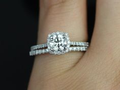 Ultra Petite Samina 14kt White Gold Round Diamond Cushion Halo Diamond Wedding Set (Other metals and stone options available)