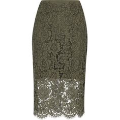 Diane Von Furstenberg Olive Lace Pencil Skirt - Size 10 (20.060 RUB) ❤ liked on Polyvore featuring skirts, knee length pencil skirt, army green skirt, diane von furstenberg, olive green skirt and olive pencil skirt