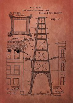 Fire Escape And Water Tower Patent    Fireman