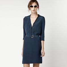 LACOSTE Long Sleeve Silk Dress