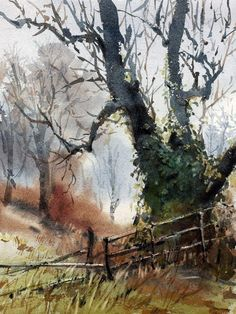 Watercolor Painting Techniques, Watercolor Landscape Paintings, Watercolor Trees, Watercolor Artists, Watercolor Illustration, Landscape Art, Art Aquarelle, Tree Art, Art Projects
