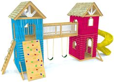 Two tower play-set plan, with a connecting bridge and two levels. Outside ladder, rock wall and room for a slide are included. Both tower have gable roofs, and trap doors for access to the 2nd levels. Hang swings from the bridge! 23' wide and 16' tall. A fun playground play-set you can build!