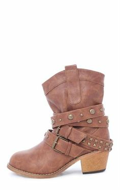 Deb Shops Short #Western #Boot with Studded Straps $40.90
