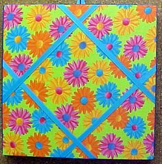 """Fabric Cork Bulletin Boards.  Daisies on Lime with Turquoise crisscross message ribbons, 12"""" x 12"""", $24.70, or, YOUR choice of over 1000 fabrics, or, YOUR fabric; four standard sizes or custom size; with or without message ribbons; and lots more at  www.PushPinsAndFabricCorkBoards.com, Category: FABRIC CORK BULLETIN BOARDS, Subcategory: FLOWERS & GARDENING. Also matching DECORATIVE PUSH PINS. #fabriccorkbulletinboards #decorativepushpins #fabricwallart #interiordesigners"""