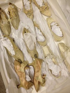 "A treasure trove of SHOES (1760s+), Portsmouth (NH) Historical Society Collection, courtesy curator, Sandra Rux. Much more to come on this cache but enjoy the ""raw"" unvarnished nature of the photo. None of them have been published to my knowledge."