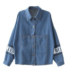 Blue Loose Ladies Cute Mouse Printed Denim Lapel Coat ($24) ❤ liked on Polyvore featuring outerwear, coats, tops, items, blue, denim coat, blue coat and lapel coat