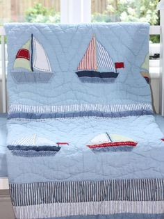 sail boat cot bed quilt