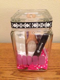 Jamicure in a Jar!   I made these for our teachers' End of the Year gifts.  Jars were from Cost Plus World Market and filled with: 1 pumice 1 nail brush 1 Jamberry nail file 1 Jamberry nail buffer block 1 orange stick 2 Jamberry alcohol prep wipes 1 glass nail file 1/2 sheet of Jamberry nail wraps (enough for 1 manicure and 1 pedicure) Application instructions  Tied up with a pretty ribbon and all set to go!  www.loisbalster.jamberrynails.net www.facebook.com/JamWithLois