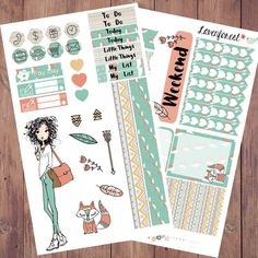 Joanna boho planner stickers, January planner stickers, fox, fashion girl, erin condren, happy planner, girl mini kit, life planner, MK0017