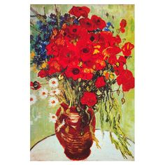 Vase with Daisies & Poppies by Van Gogh Canvas Print