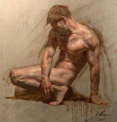 Artist: Robert Liberace {contemporary figurative fine artist discreet nude male human body muscular man anatomy grunge painting drips} robertliberace.com