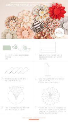 Estudio de Mae: Arte de papel Tutorial: Flores grandes flores