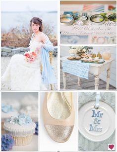 Blue, Peach & Pink Shabby Chic Wedding Inspiration Board