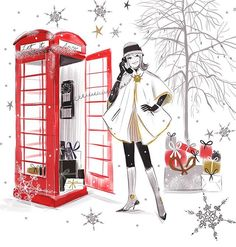 It's that time of year to make those important phone calls to your loved ones. #christmaslove #christmas #christmascheer #illustration #illustratorsoninstagram #illustrator #springautumnfair #wholesale #greetingcards #art #winterwonderland #lucytruman #snowflake