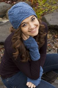 cabled entrelac hat and mitts