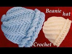 Gorro tejido con hojas superpuestas en relieve y flor a Crochet o Ganchillo - YouTube