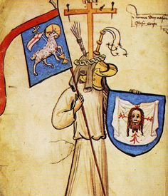 An image of Jesus, represented as a medieval armiger. The picture comes from the middle of the 15th century Hyghalmen Roll which is now at the College of Arms. Circa 1450