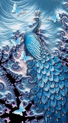 Fractal Peacock - Diamond Painting - DIY Painting with Diamond Kit - Untitled Artisan Peacock Wall Art, Peacock Painting, Fabric Painting, Peacock Images, Peacock Pictures, Fractal Art, Fractals, Tribal Theme, Plaster Art