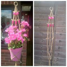 Macrame Plant Hanger with Fluorescent Pink Beads